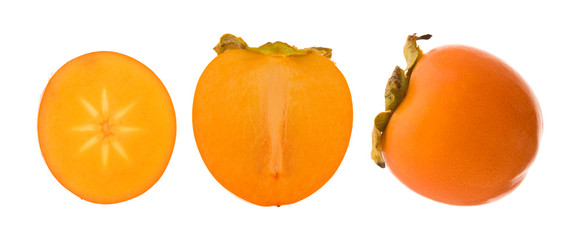 group of persimmon fruits isolated on white background