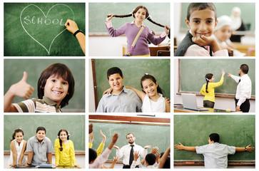 School concept, children and teacher in classroom