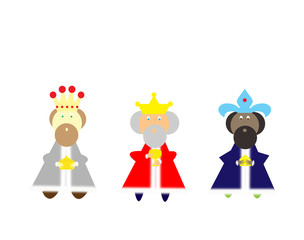 three kings bearing gifts on a white background