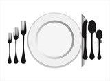 plate with fork, knife ,spoon vector