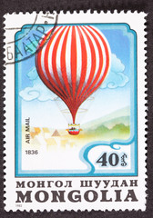 Air Mail Stamp Charles Green Royal-Vauxhall 1836 Balloon