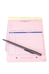 Pink Packing Slip List, Pen, Pad Isolated White Background
