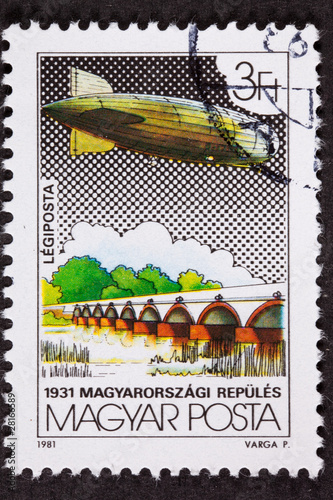 Hungarian Hungary Postage Stamp Flight, Flying, Blimp, Zeppelin