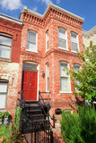 Tidy Red Brick Italiante Style Row House Home, Washington DC poster