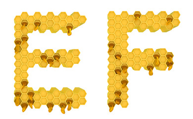 Honey font E and F letters isolated