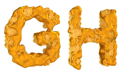Honey font G and H letters isolated