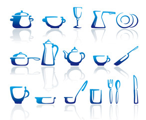 Drawn icons of kitchen ware
