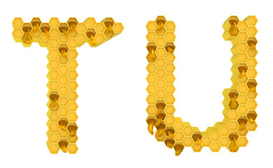 Honey font T and U letters isolated