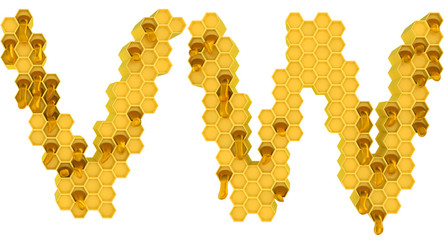 Honey font W and V letters isolated