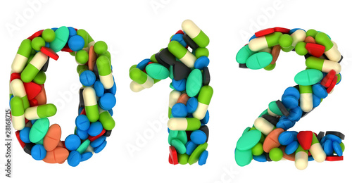 Pills font 0 1 and 2 numerals isolated