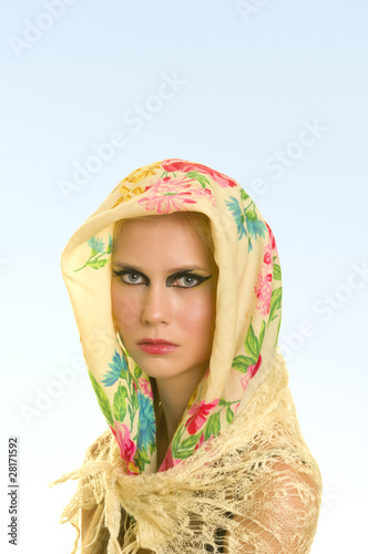 yong woman in flower print headscarf