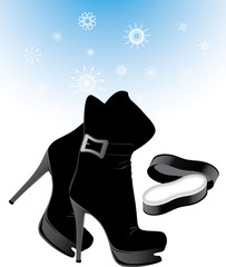 Woman boots and sponge for the care of shoes. Vector