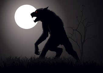 Stock  vector of a werewolf lurking in the night