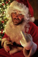 Santa having a bad day and drinking beer