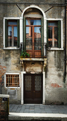 Windows and Balcony in Venice, Italy