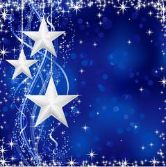 Christmas / winter background with silver stars on blue