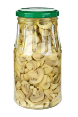 Glass jar with sliced marinated white mushrooms