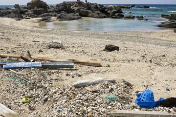 Rubbish and environmental damage of Mediterranean seacoast