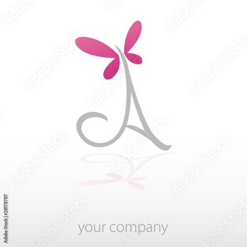 logo entreprise, lettre a, papillon