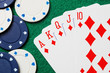 Royal straight flush poker cards with gambling chips