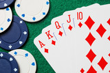 Royal straight flush poker cards with gambling chips poster