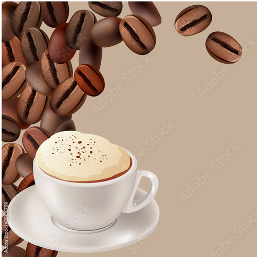 Cup of hot cappuccino on beige background with coffee beans