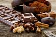 Leinwandbild Motiv chocolate with ingredients-cioccolato e ingredienti
