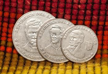 Coins of republic of Ecuador, 25, 5, 10 centavo