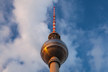 Perspective view up of Berlin TV tower in Germany