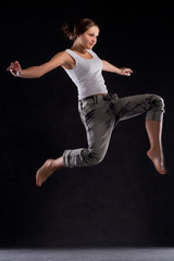 the girl in the peak moments of dance