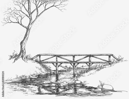 Bridge over river sketch - 28184324