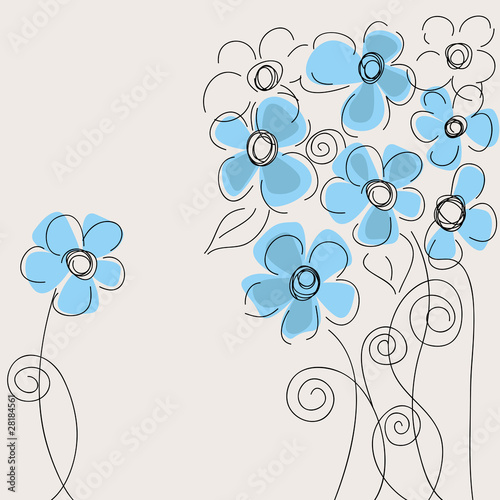 Tuinposter Abstract bloemen Cute blue flowers