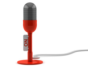 Red retro microphone