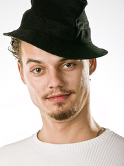 man in stylish black hat