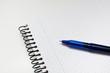 boligrafo azul encima de un cuaderno