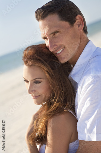 Romantic Couple Embracing on A Beach