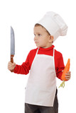 Little chief-cooker with kitchen knife and carrot poster