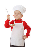 Little smiling chief-cooker with ladle, isolated on white poster