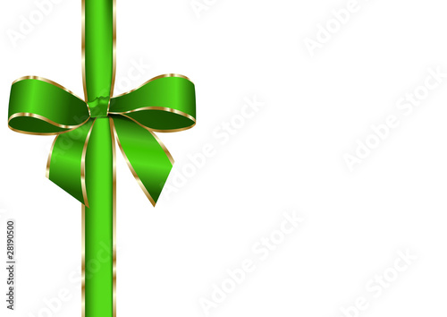 green ribbon with golden edge