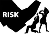 Risk foot step on uninsured business people poster