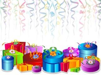 Regalo Confezioni Sfondo-Gifts Background-Vector