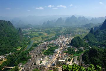 Beautiful Karst mountain landscape in Yangshuo Guilin, China .