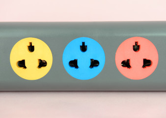 Multiple socket outlet, isolated on white.
