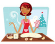 Christmas woman baking cookies in retro kitchen. VECTOR