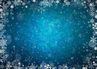 Blue christmas Seamless Pattern with snowflakes