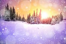 "Постер, картина, фотообои ""majestic sunset in the winter mountains landscape"""