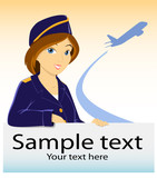 Vector stewardess with billboard and plane silhouette