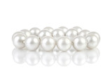 Pearls breads with reflection on white background