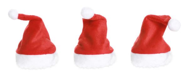 Three Santa Hat isolated on white background