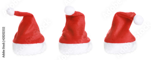 Three Santa Hat isolated on white background